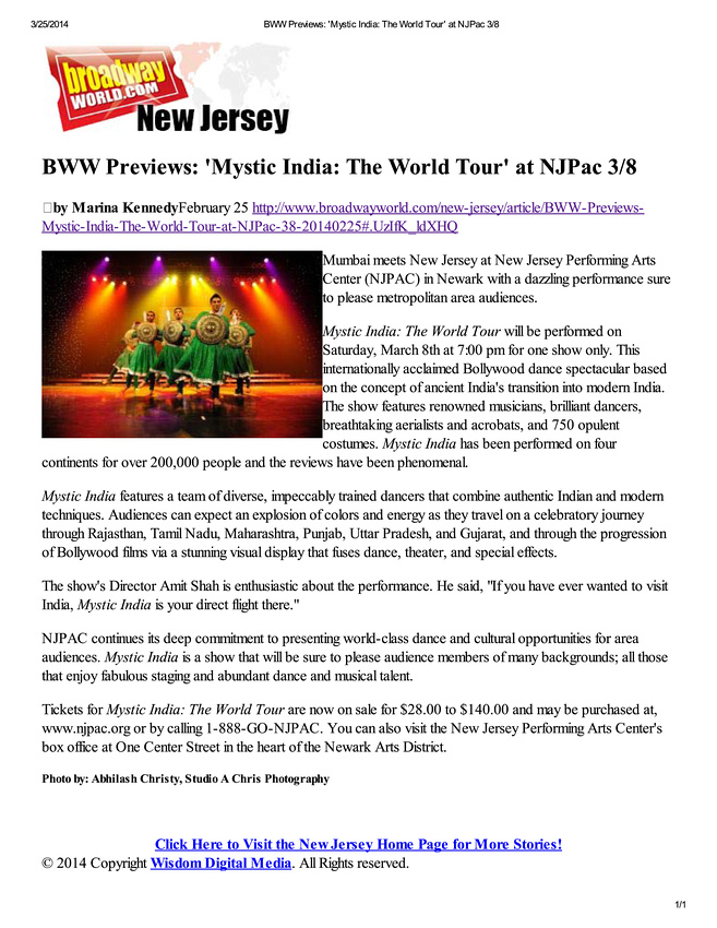BWW Previews: 'Mystic In...orld Tour' at NJPac 3/8